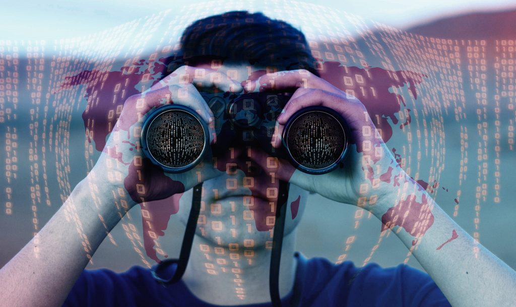 Picture of a Man Looking through Binoculars